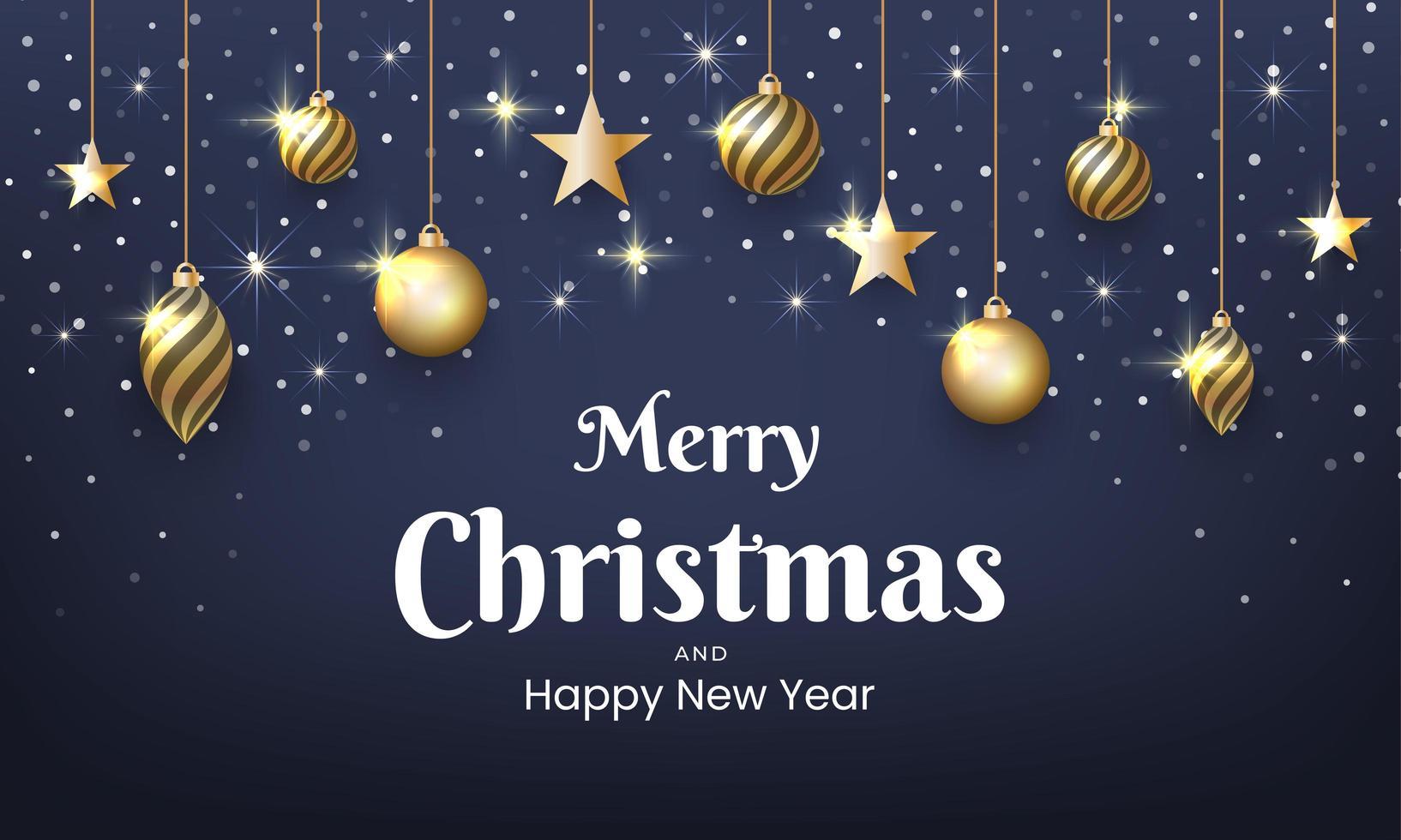 kerstmis en nieuwjaarsontwerp met gouden glitters, ornamenten vector
