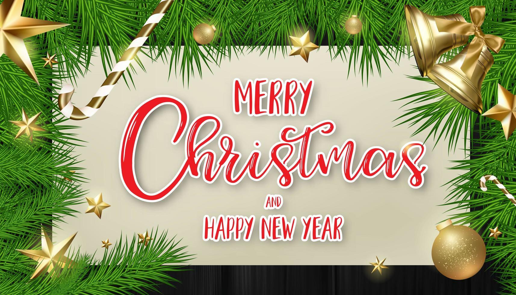 Kerstmisspar en ornamentkader met kalligrafie vector