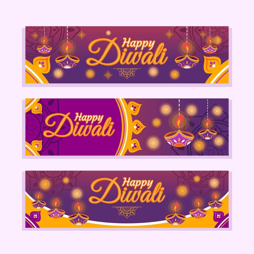 sprankelende banner voor diwali lichtfestival vector