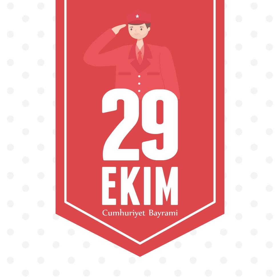 turkije republiek dag. hanger met soldaat die salueert vector