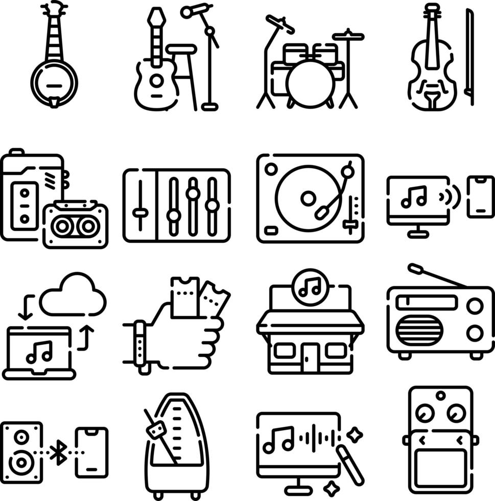muziek en multimedia lijn icon set vector