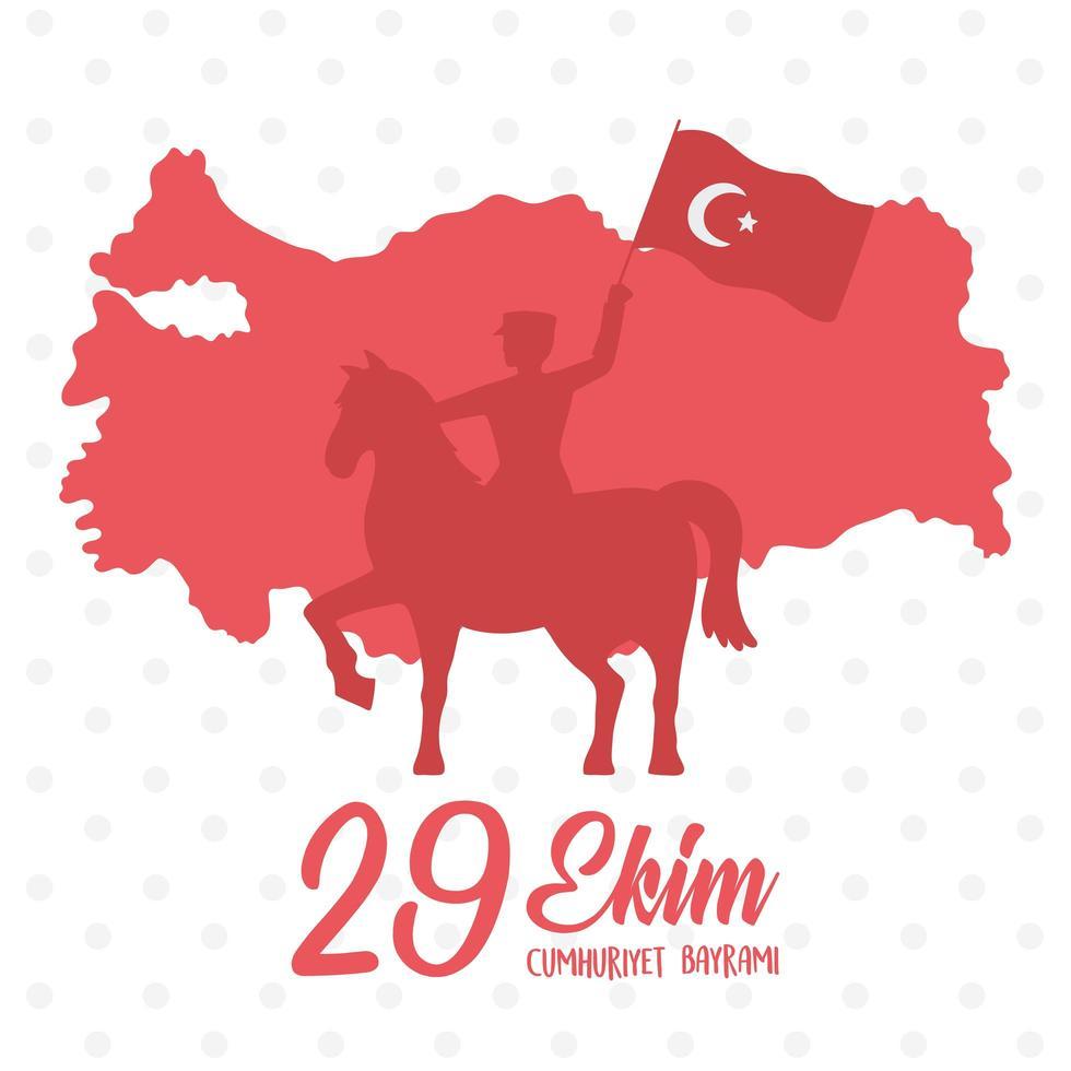 turkije republiek dag. rood silhouet soldaat rijpaard vector