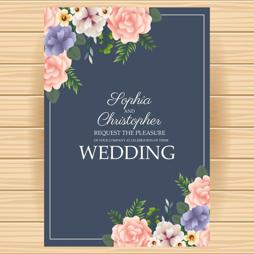 huwelijksuitnodiging met bloemenhoeken vector