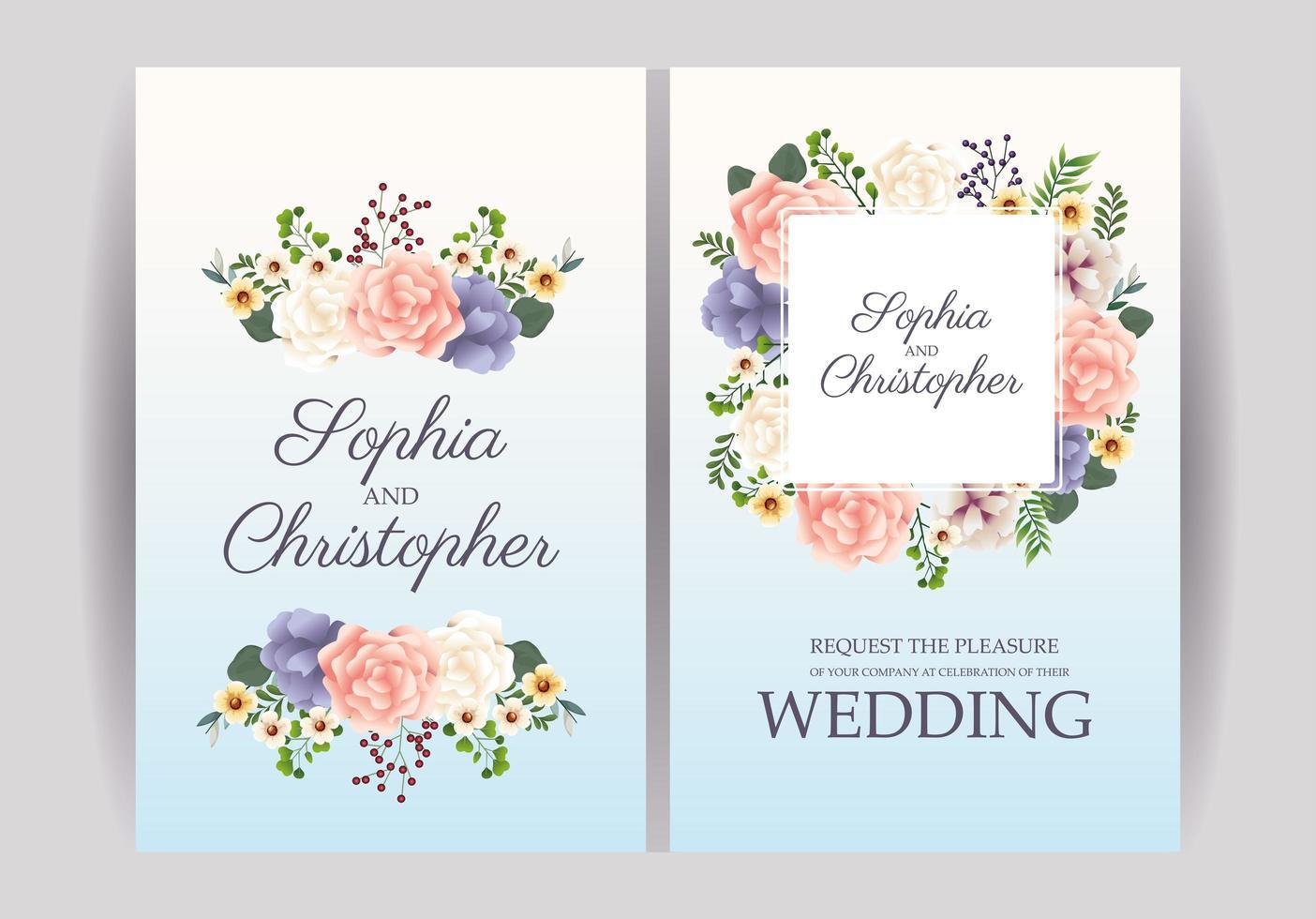 pastel bloemen bruiloft uitnodiging set vector