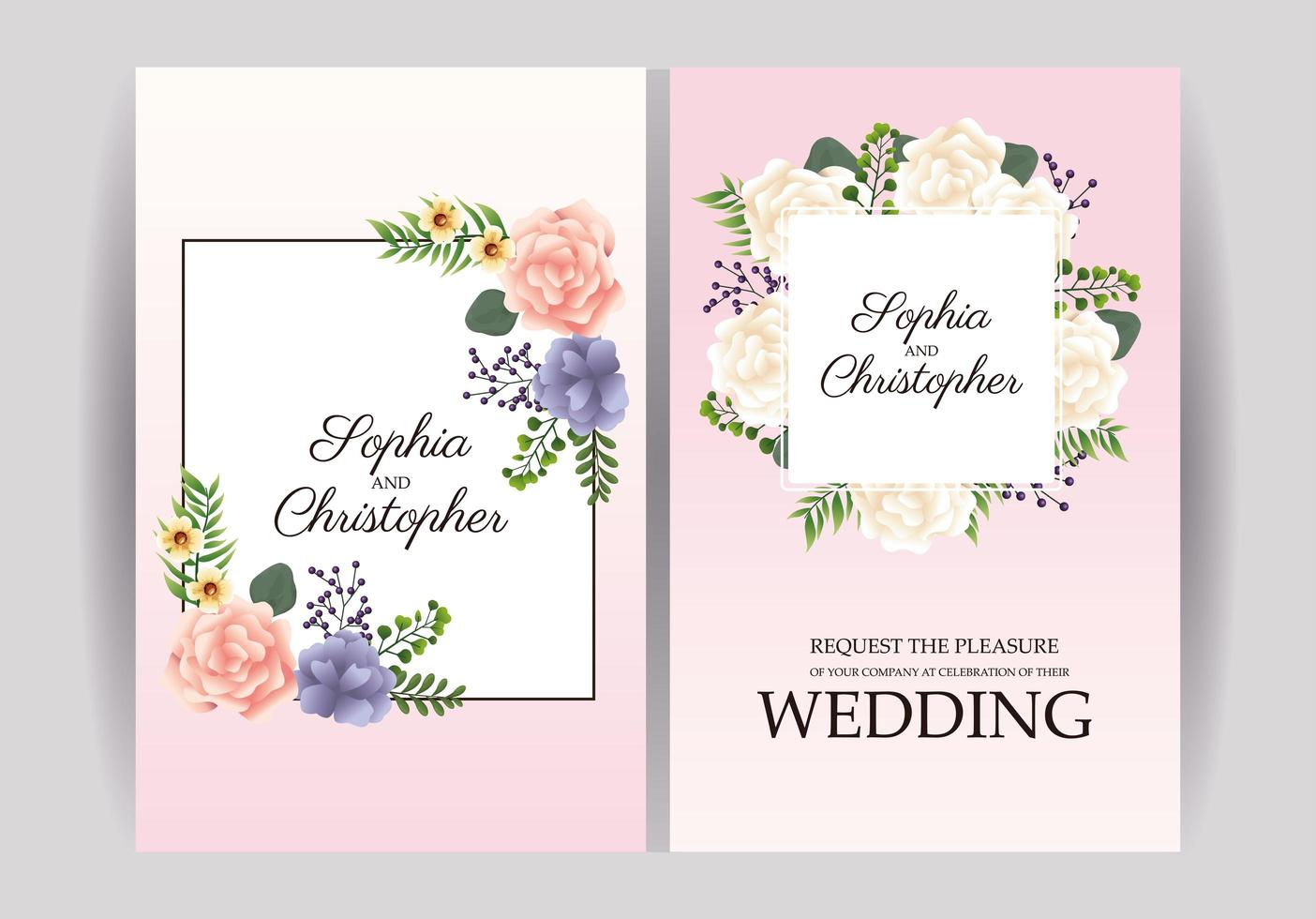 bruiloft uitnodiging met bloemen kaderset vector