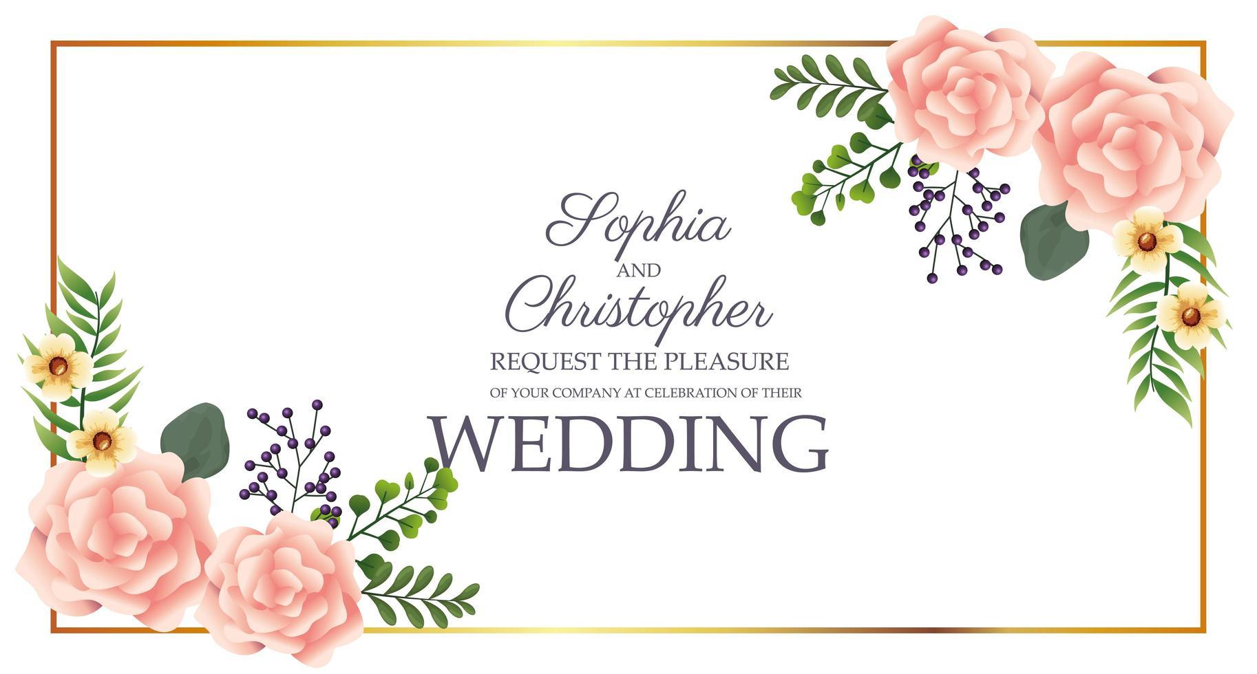 bruiloft uitnodiging met hoek bloemdessin vector