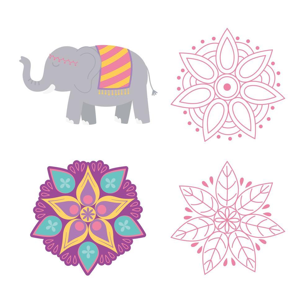 gelukkig diwali-festival. bloemenmandala's en olifant vector