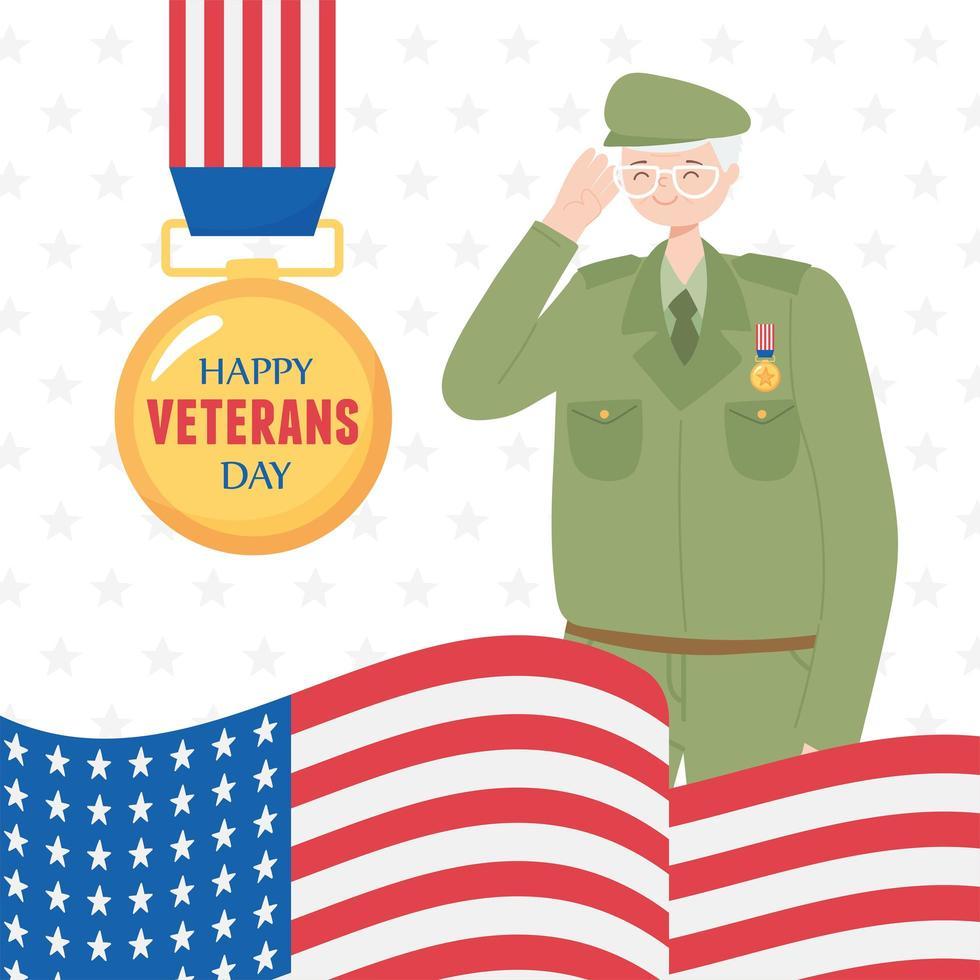 gelukkige veteranendag. Amerikaanse soldaat, medaille en vlag vector