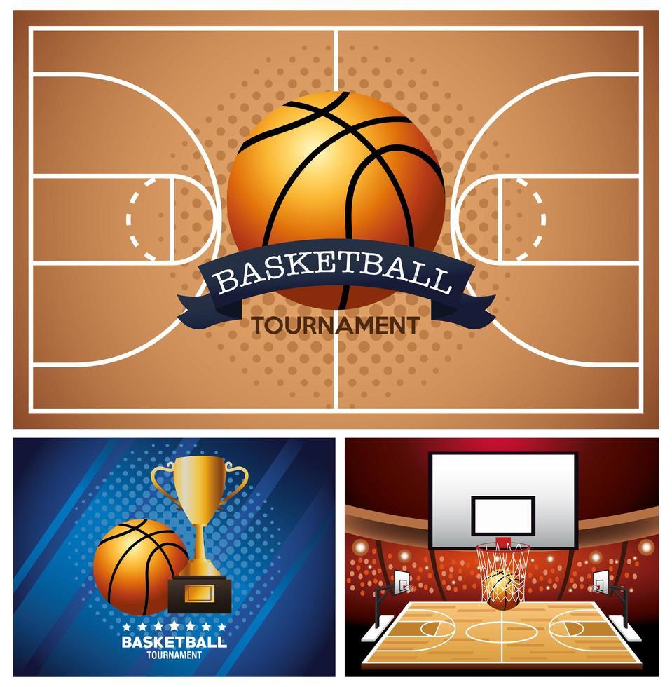 basketbaltoernooi banner set vector