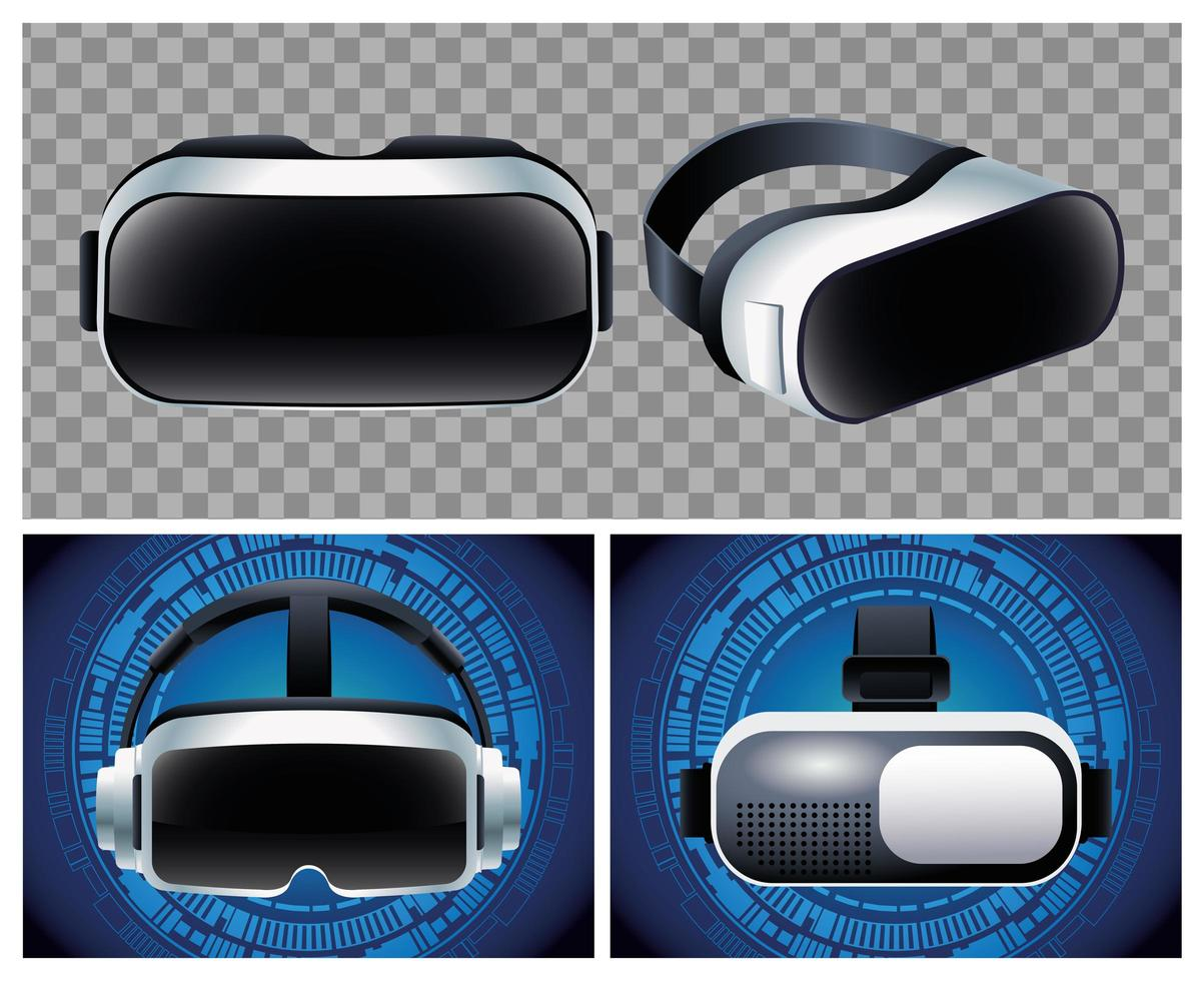 vier accessoires voor virtual reality-maskers vector