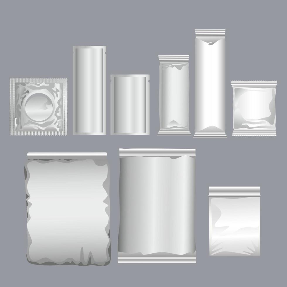 grijze sachets verpakkingen producten met condoom vector