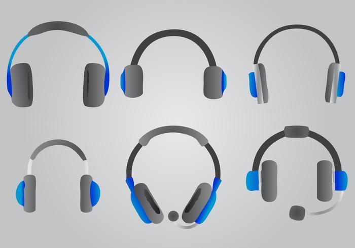 Blue Headphone Vector Set