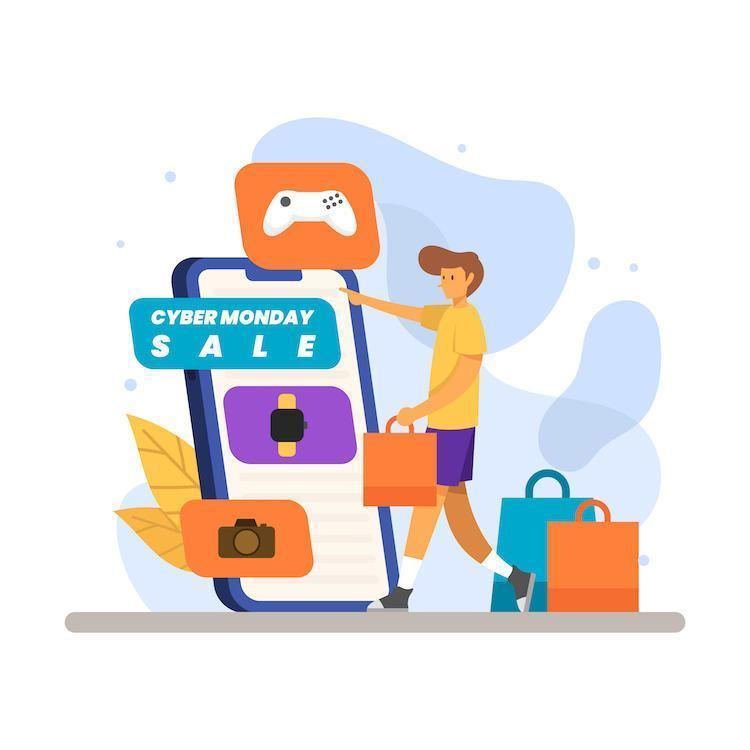 cyber maandag gadget online verkoop vector