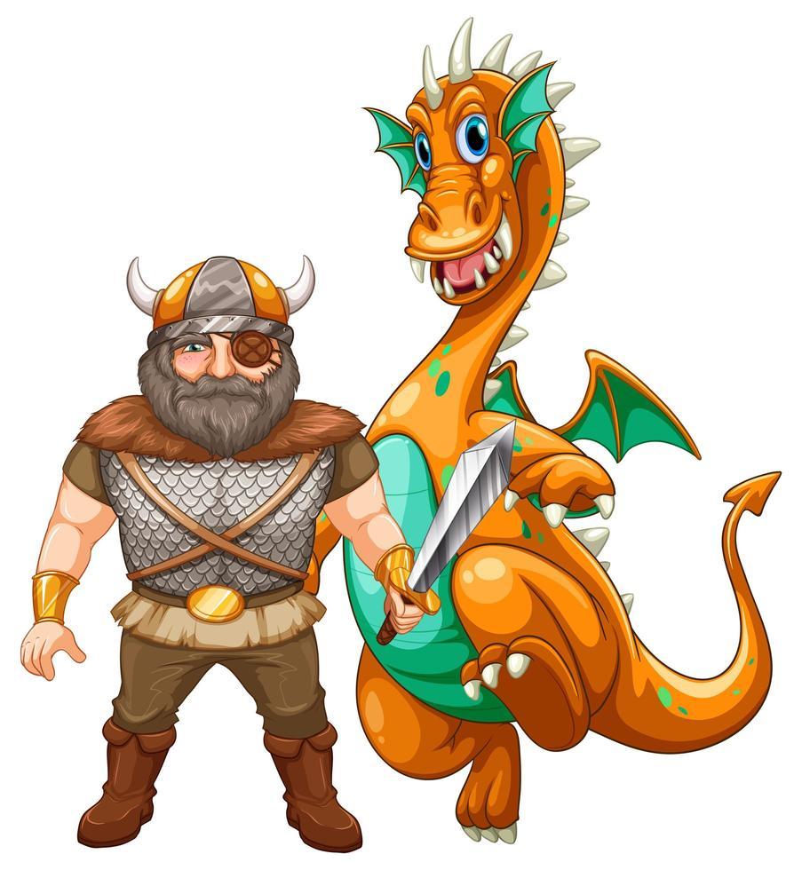 Viking en draak vector