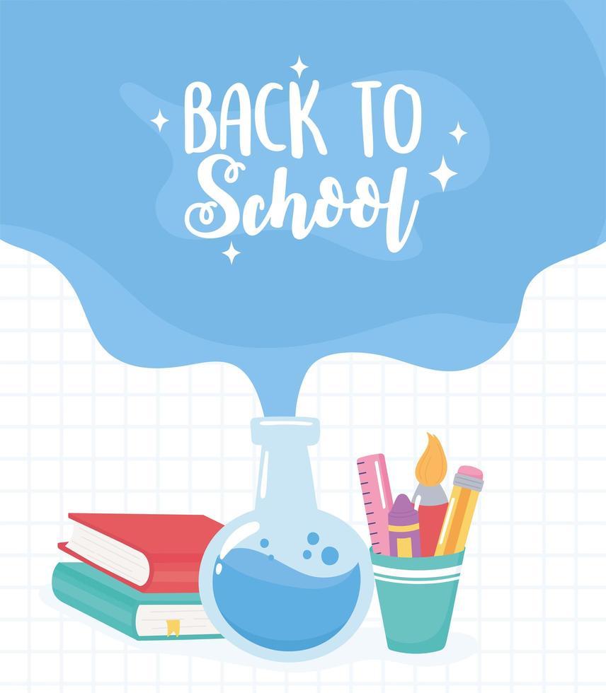 terug naar school. chemiebuisje, boeken en potloden vector