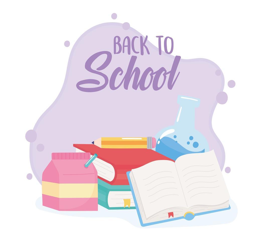 terug naar school. chemiekolf, boeken en potlood vector