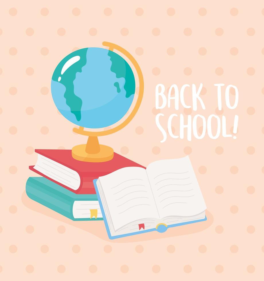 terug naar school. globale kaart met boeken. vector