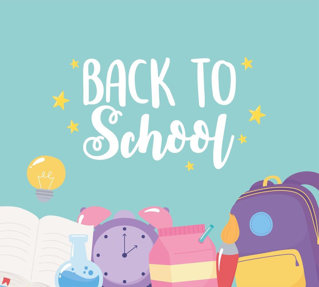 terug naar school. rugzak, klok, borstel en boek vector