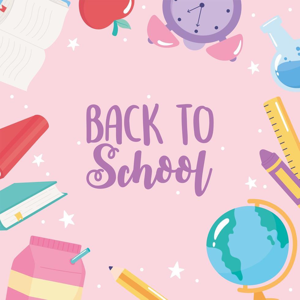 terug naar school. wereldbol, potlood, boeken en appel vector