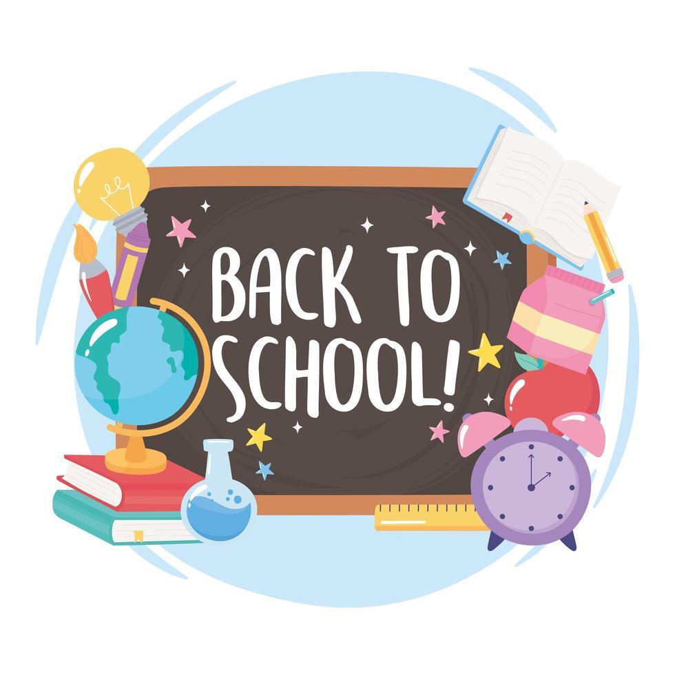 terug naar school. schoolbord, wereldbol, boeken en potlood vector