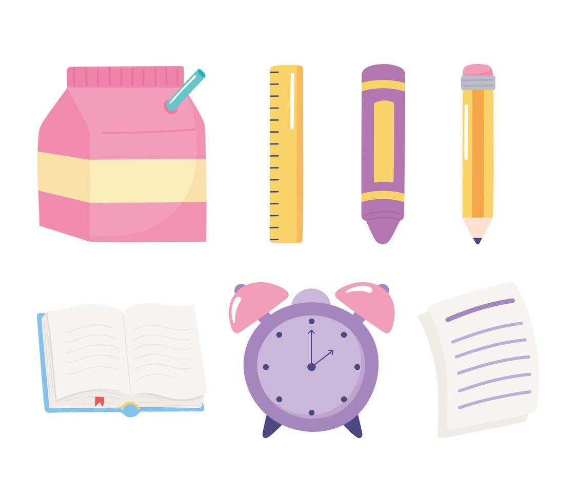 terug naar school. elementair onderwijs items cartoon set vector