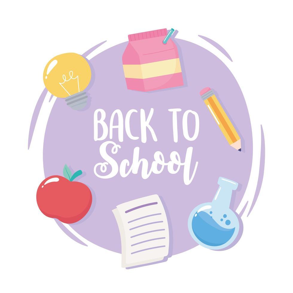 terug naar school. appel, papier en potlood vector