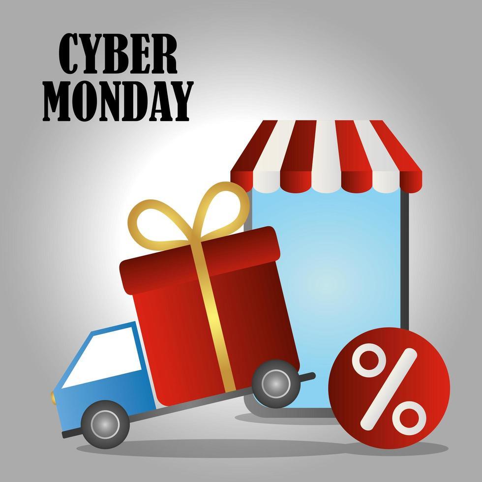 cyber maandag. vrachtwagen met geschenkdoos en smartphone vector
