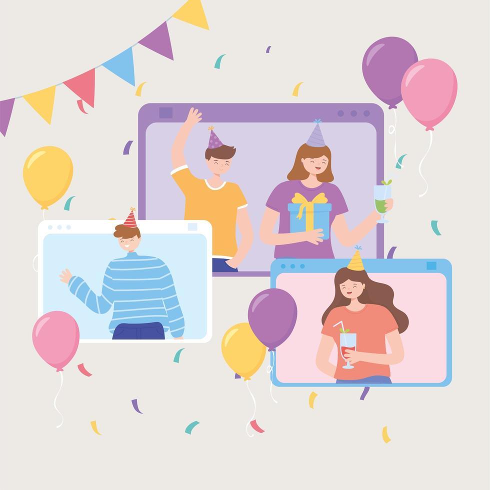 online feest. mensen in website in feestgebeurtenis vector