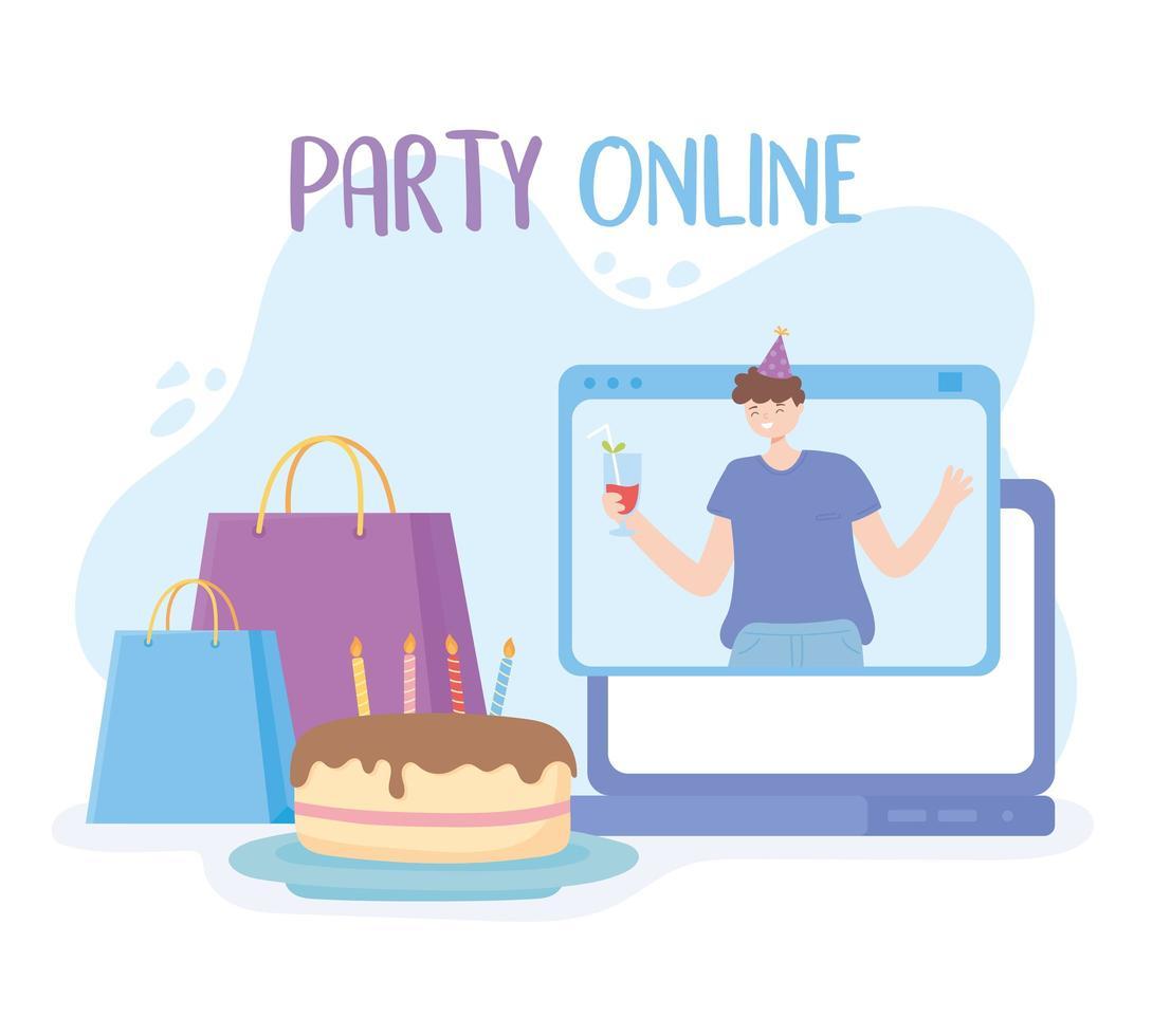 online feest. man in virtuele viering vector