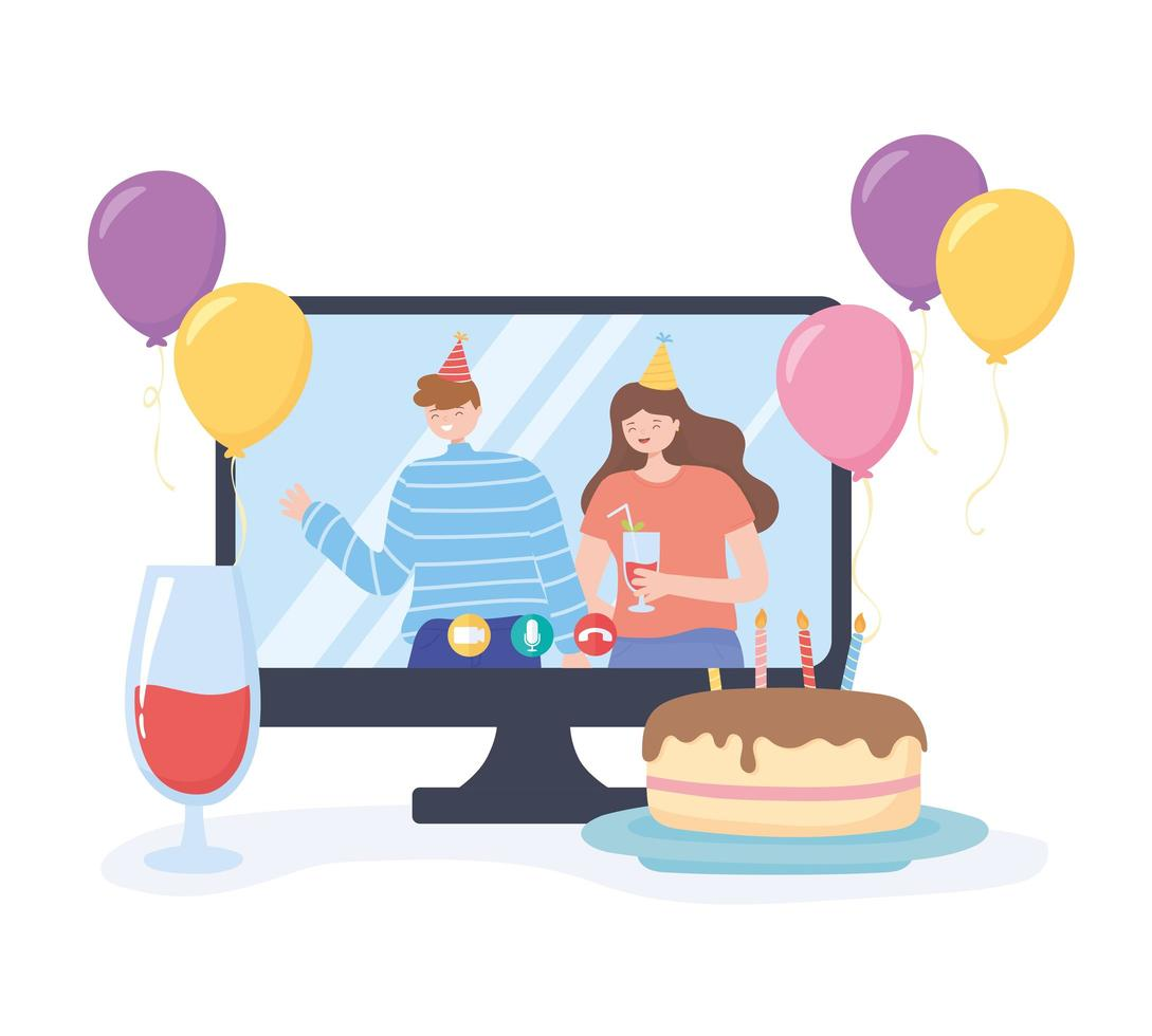 online feest. koppel met hoed in viering verjaardag vector