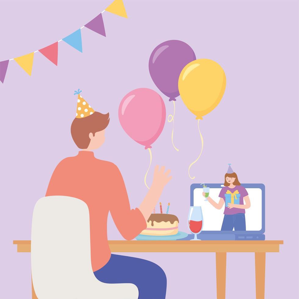 online feest. man viert via internet met vrouw vector