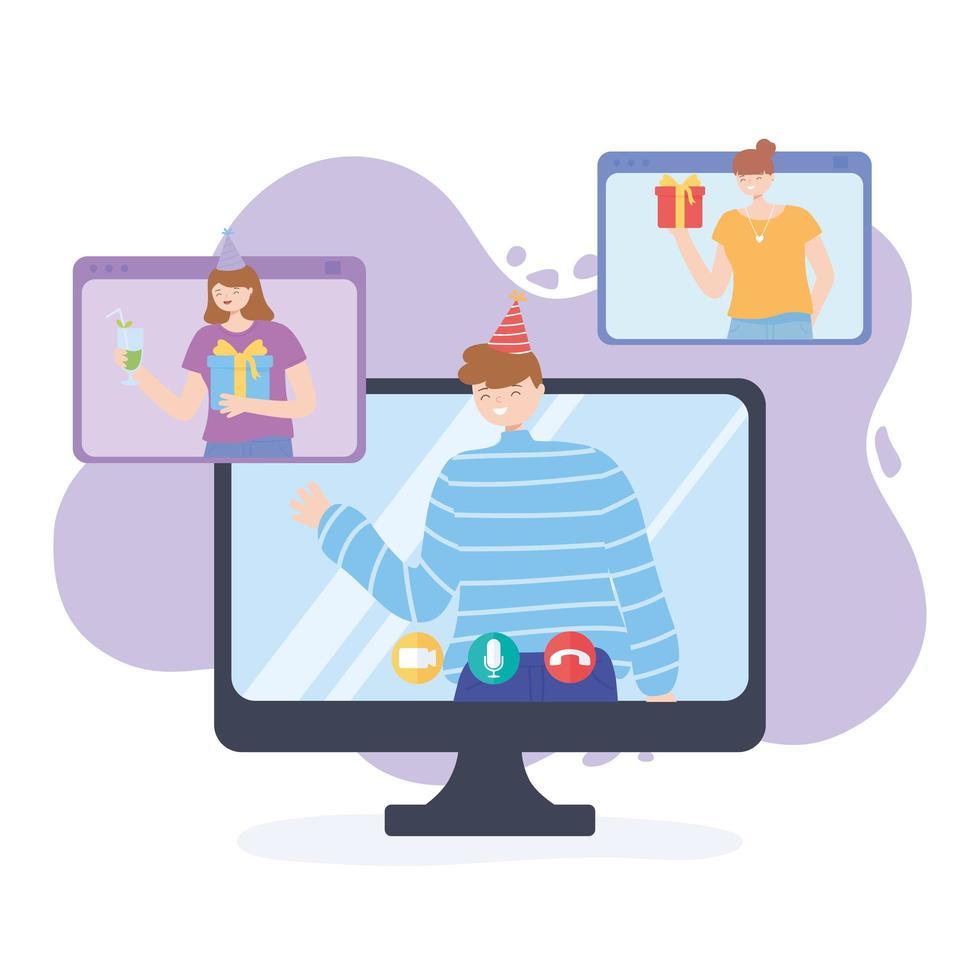 online feest. mensen vieren verjaardag door website vector