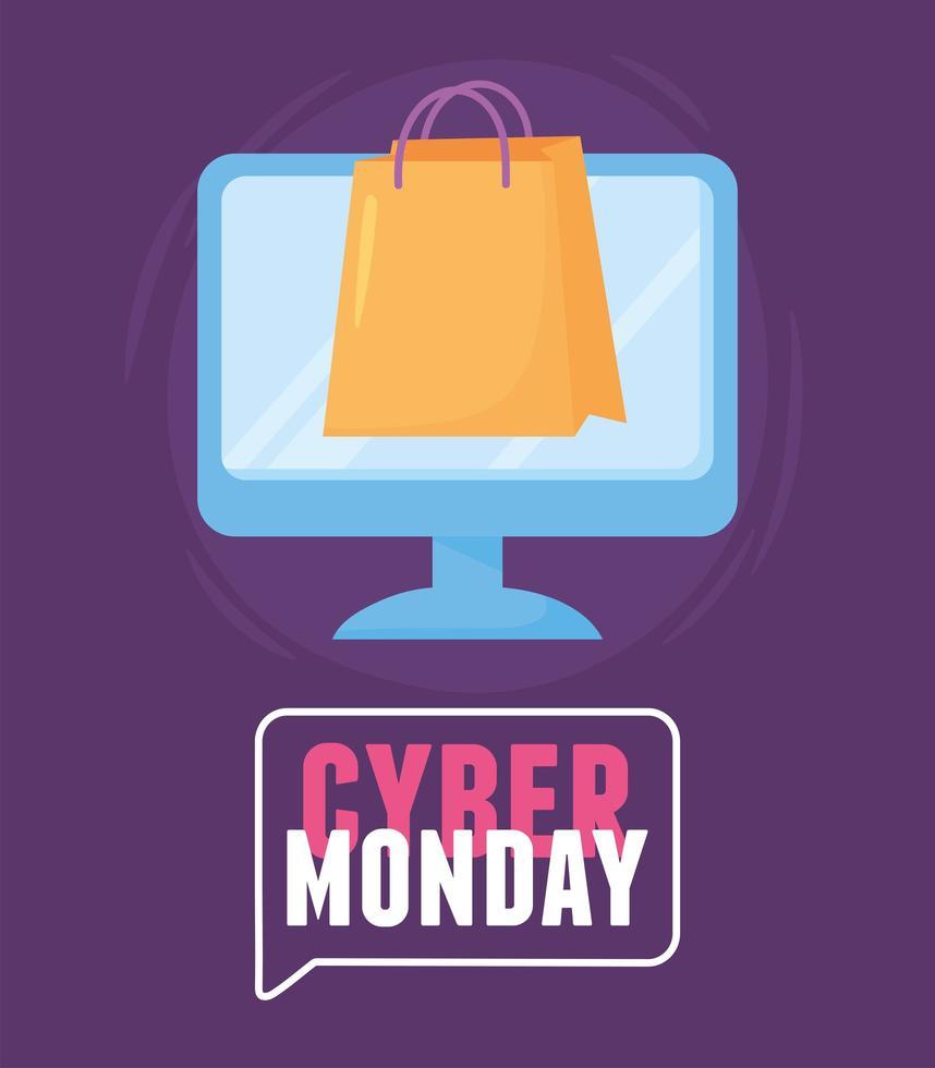 cyber maandag. boodschappentas in e-commerce computer vector