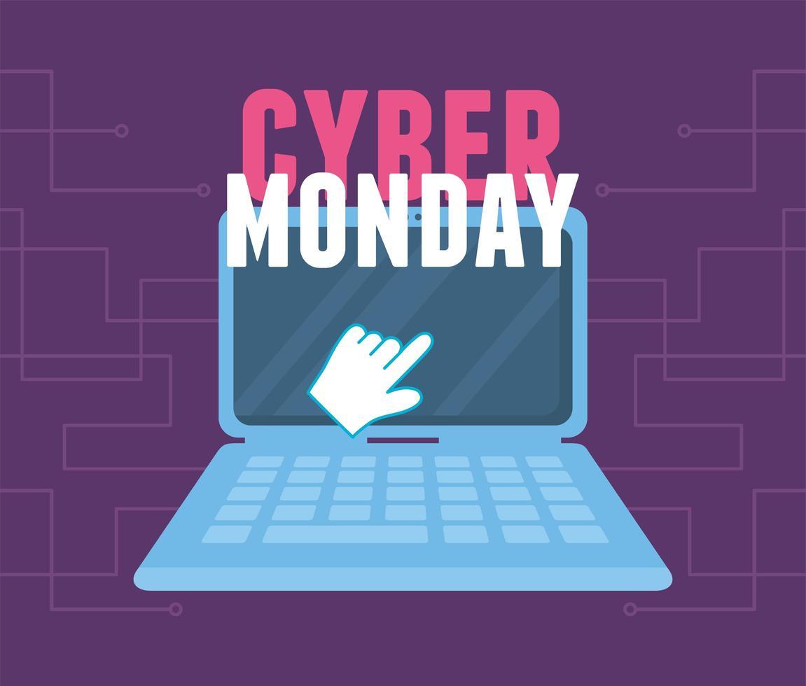 cyber maandag. klikken laptop virtuele handel vector