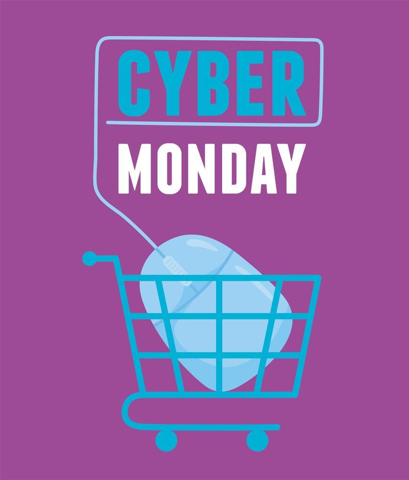 cyber maandag. muis winkelwagen aangesloten vector