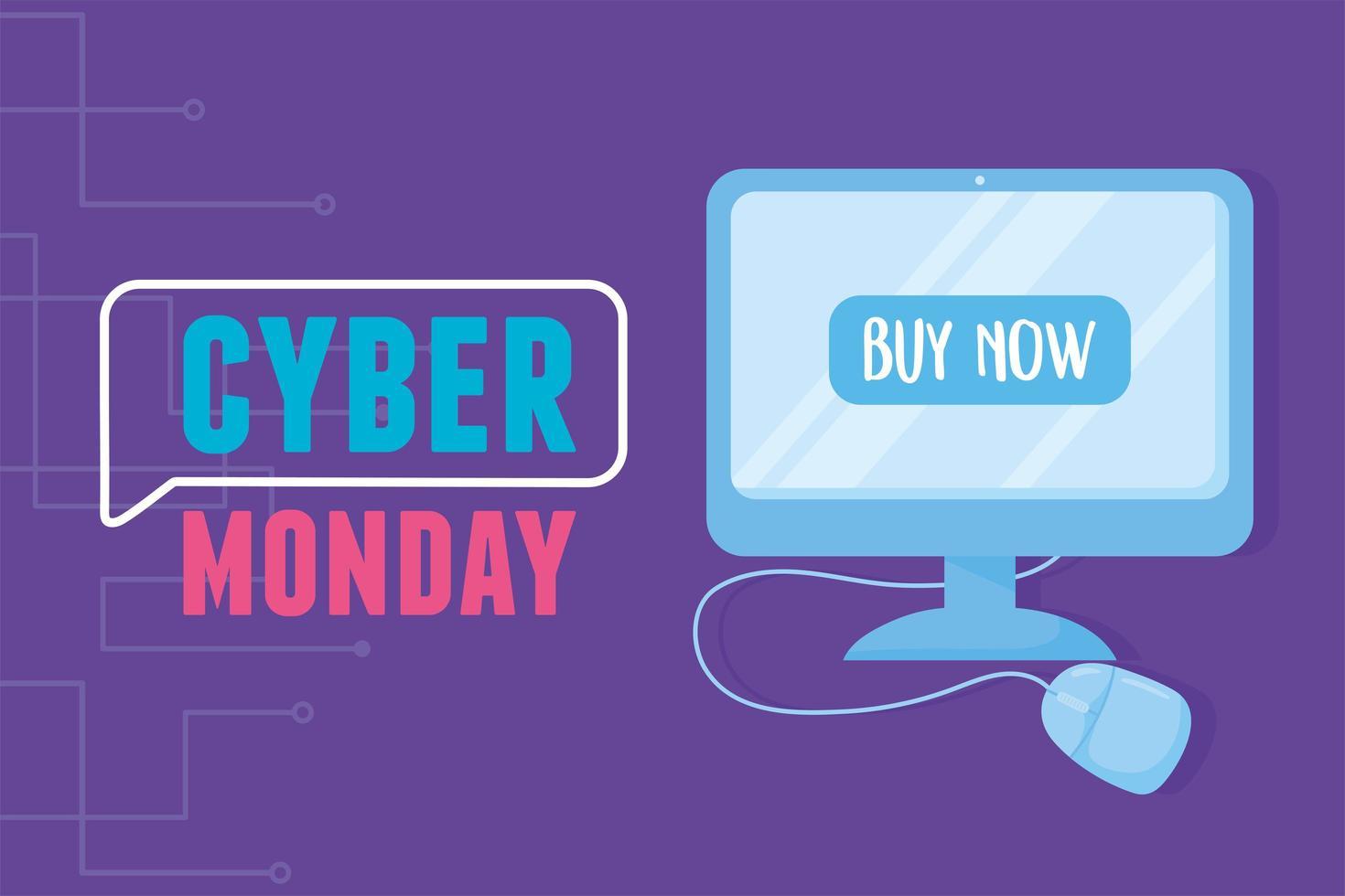 cyber maandag. computermonitor en muisapparaat vector