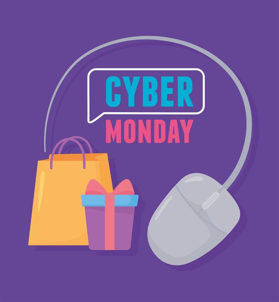 cyber maandag. geschenkdoos en tas voor elektronische handel vector