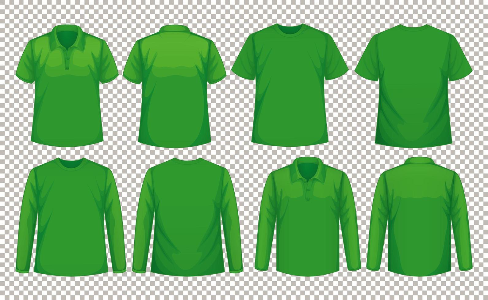 set van verschillende soorten overhemd in dezelfde kleur vector