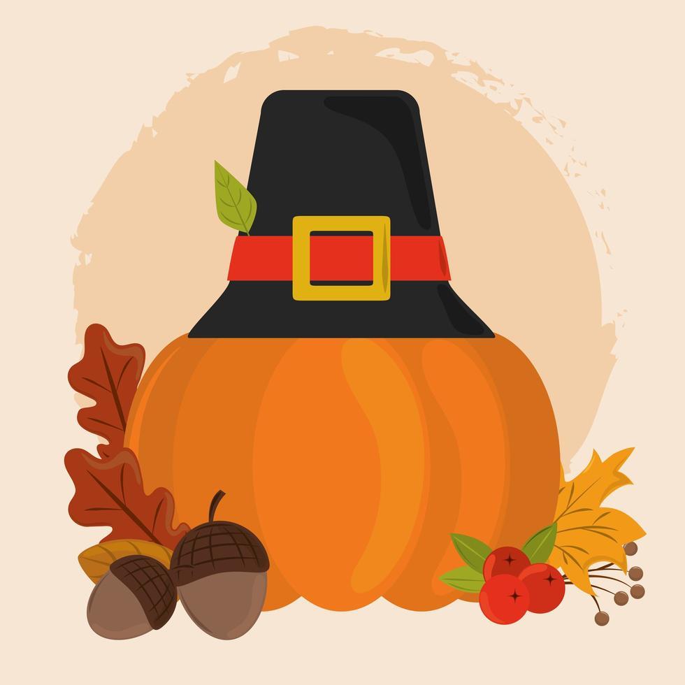 fijne thanksgiving day. pompoen met pelgrimshoed vector