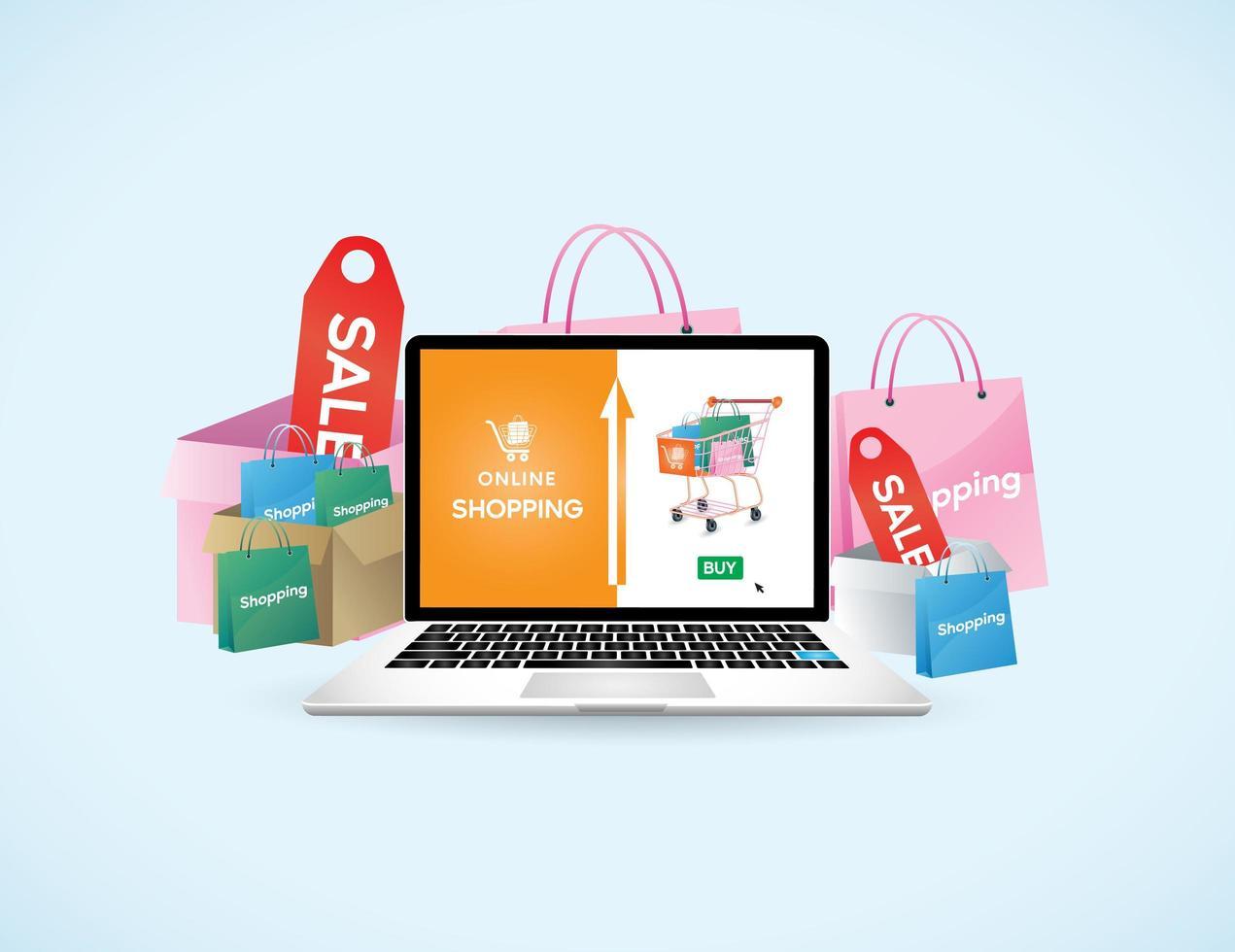 online winkelconcept met laptop vector
