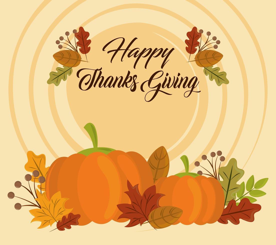 fijne thanksgiving day. wenskaart met pompoenen vector