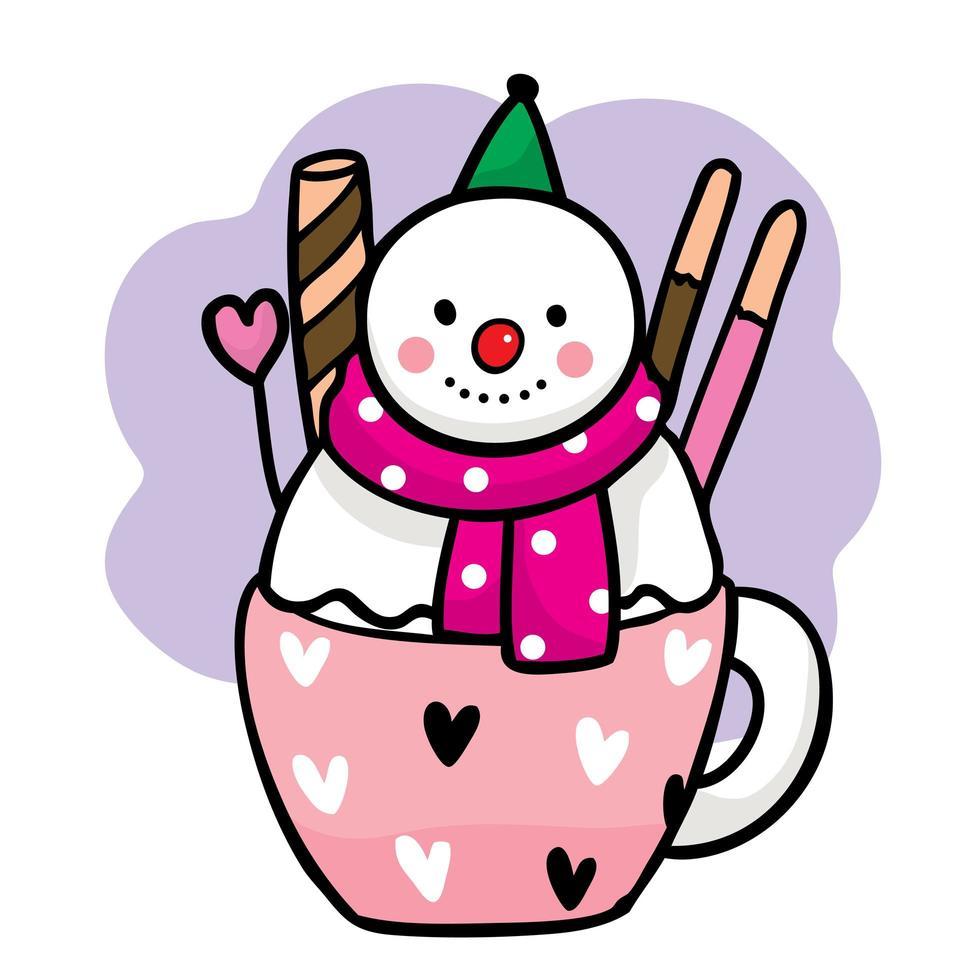 zoete sneeuwpop in een kopje thee met snoepjes vector