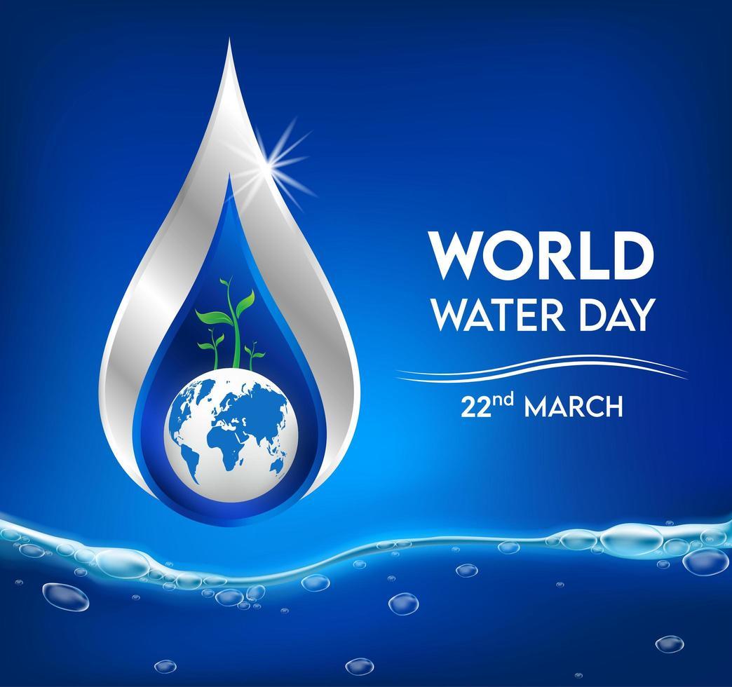 wereld waterdag banner met waterdruppel vector
