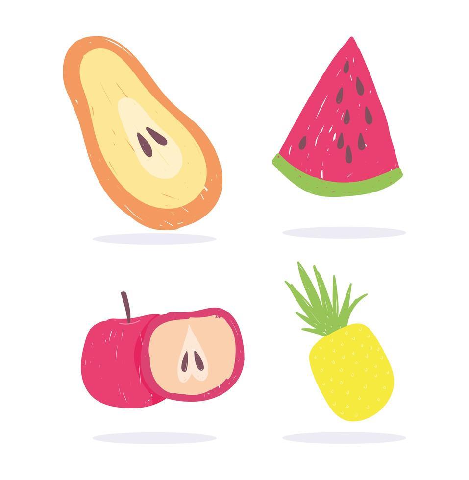 papaja, appel, watermeloen en ananas vector
