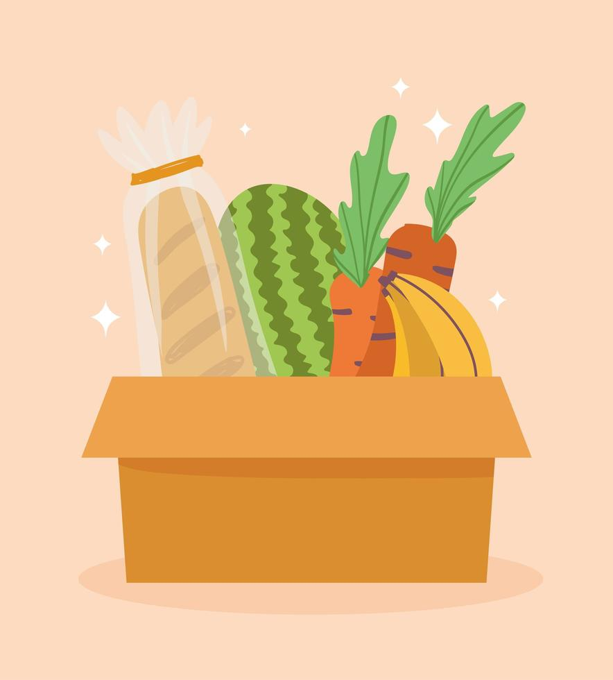 brood, fruit en groente in kartonnen doos vector