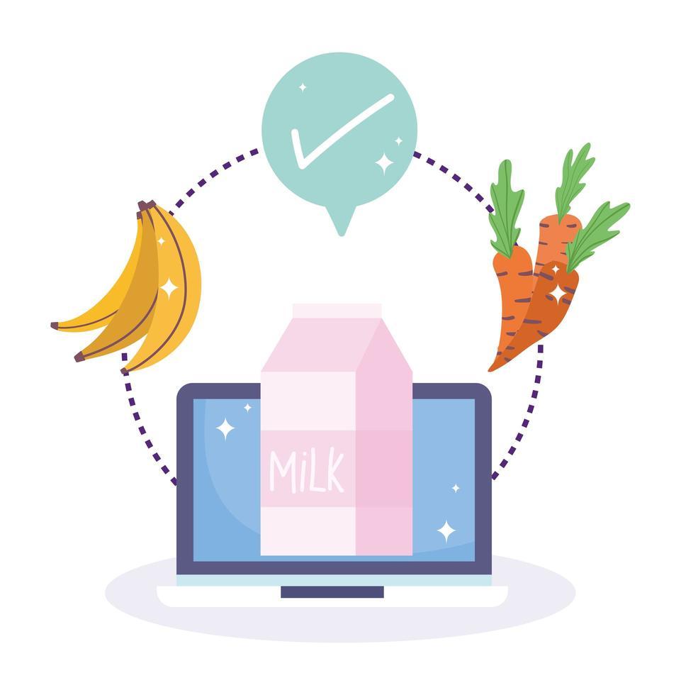 computer, melk, fruit, groente en vinkje vector