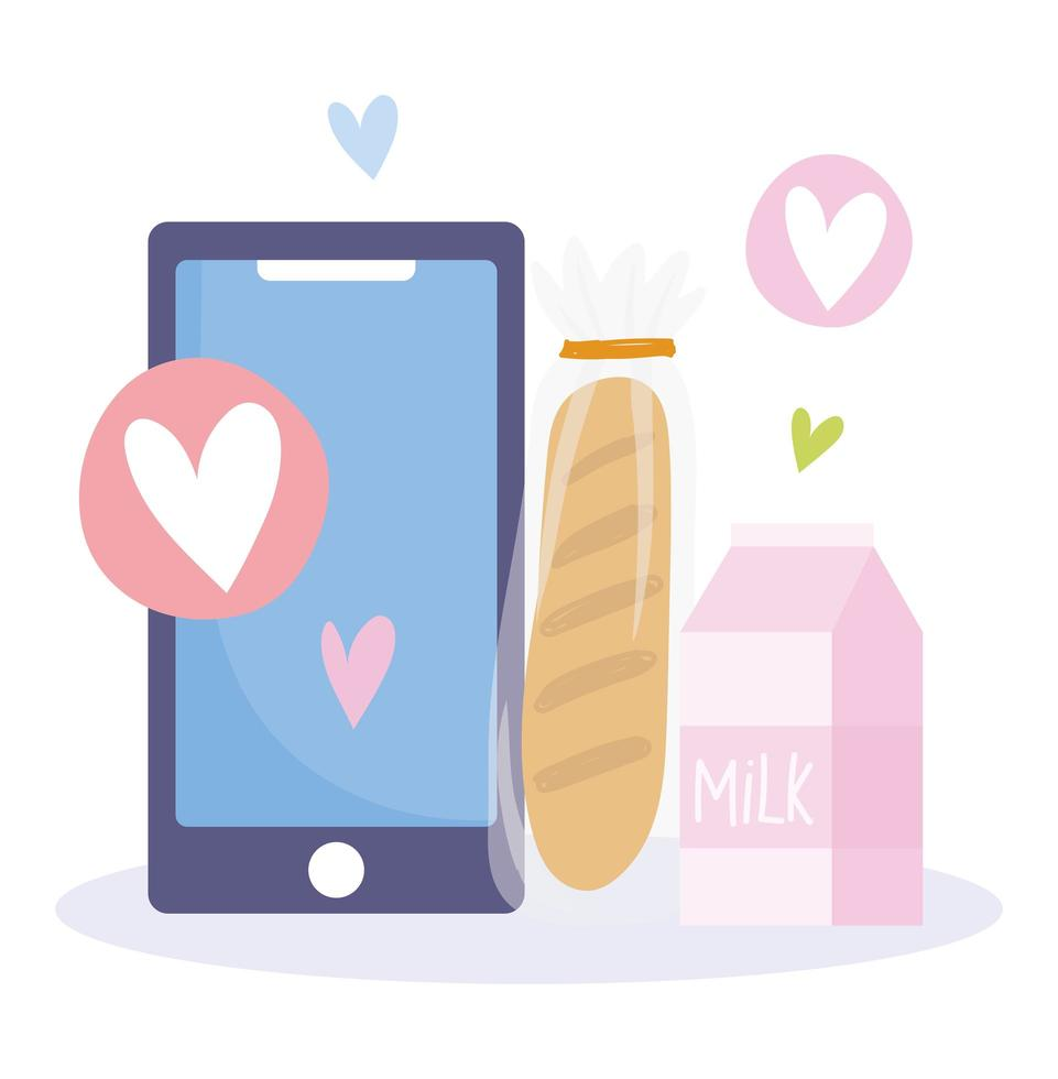 online markt. smartphone brood en melk vector