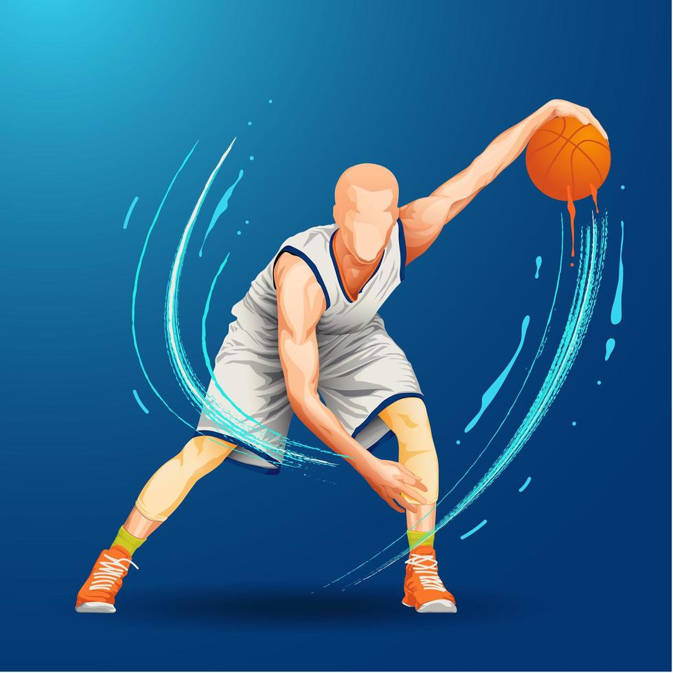 basketbalspeler dribbelen bal vector