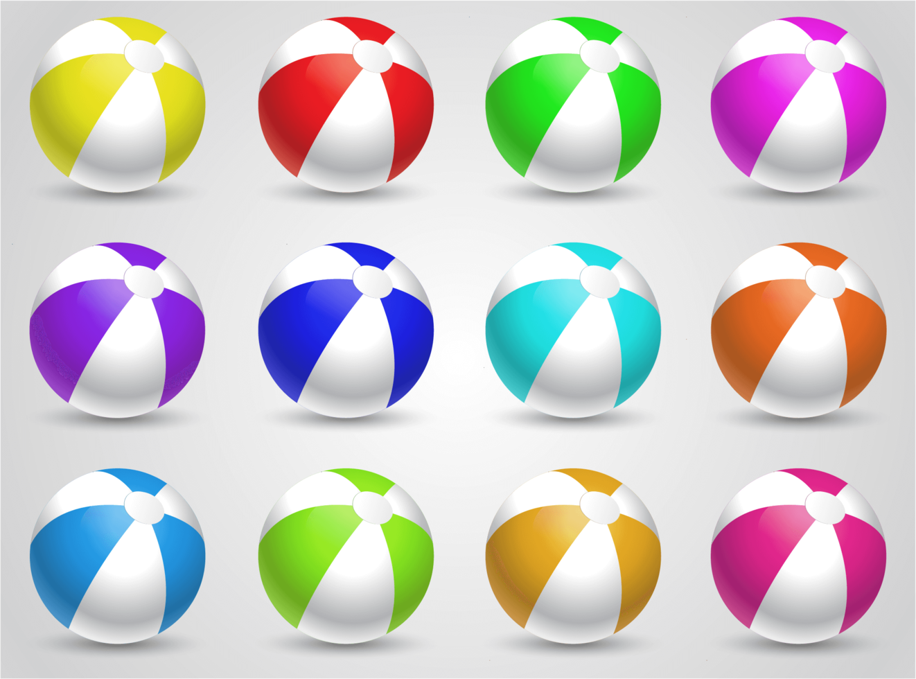 set van kleurrijke beachballs vector