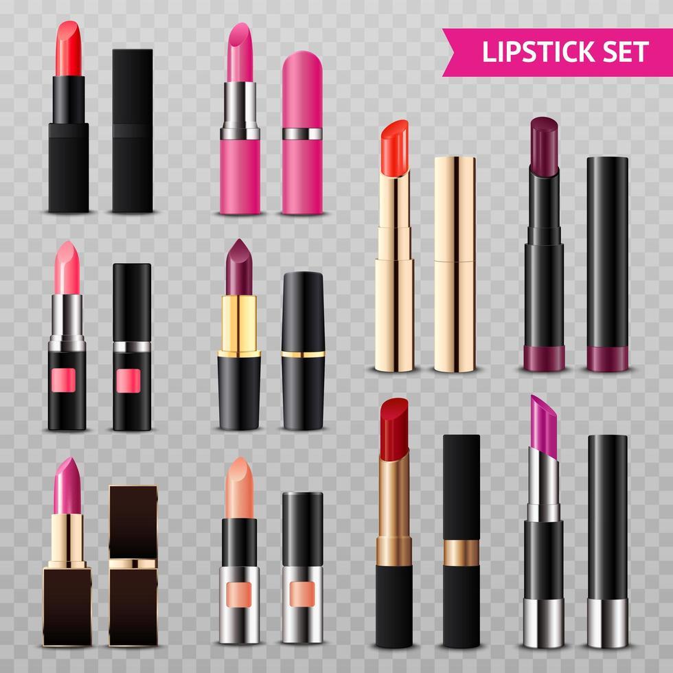 realistische lippenstift set vector